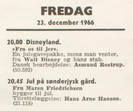 DR's programoversigt den 23. december 1966
